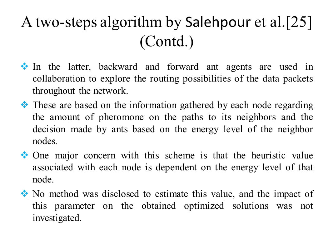 A two-steps algorithm by Salehpour et al.[25] (Contd.)